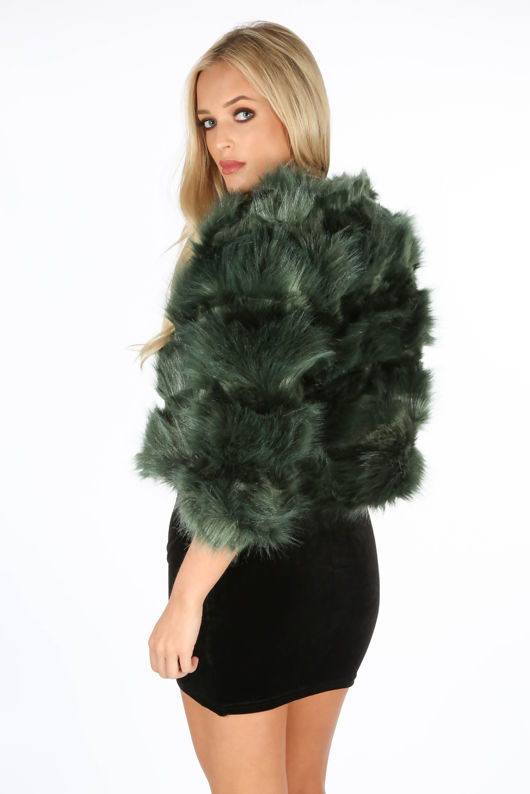 Cropped Super Soft Faux Fur Jacket In Green