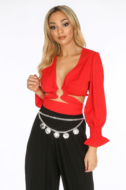 3002f7221 Red Wrap Around Long Sleeve Crop Top