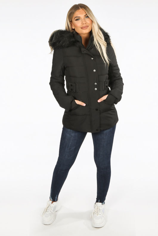 All Black Fitted Puffer Jacket