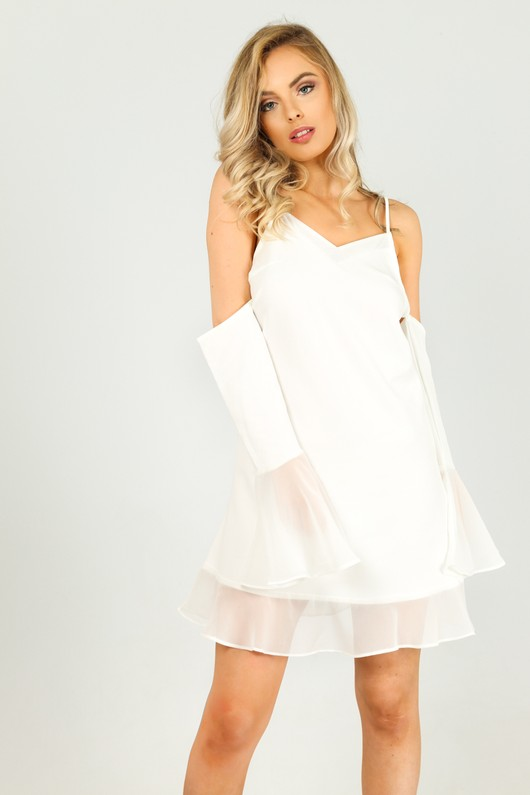 7bc6cbe6ba2b2a Cold Shoulder Cami Dress With Frilled Chiffon Hem In White