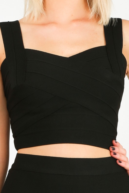 12387a1a2e6 Bandage Cross Front Crop Top In Black