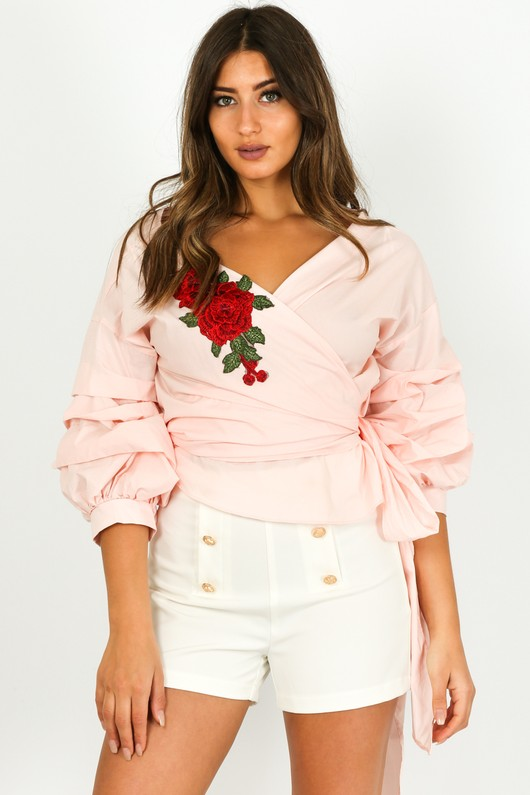 ef57e22cb662c5 Embroidered Ruffle Sleeve Wrap Over Blouse In Pink