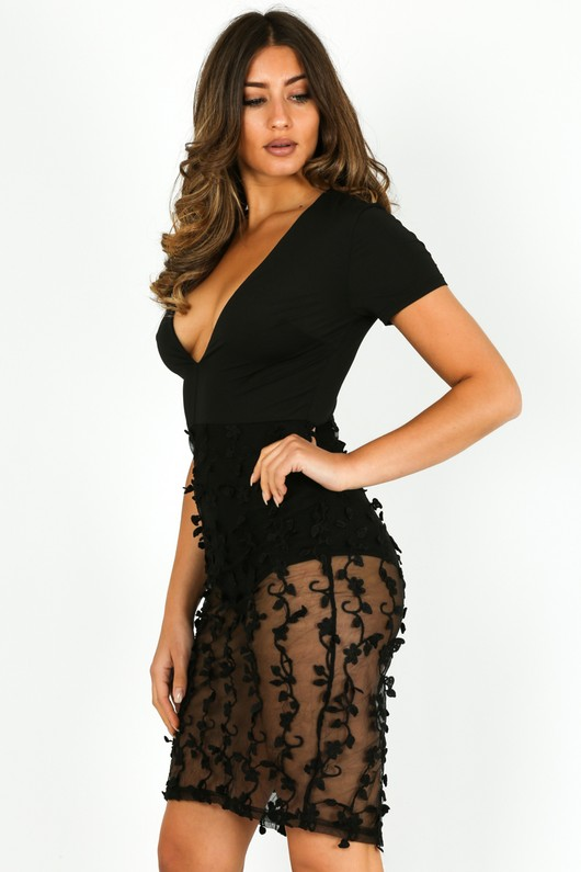 Plunge Front Mini Dress With Sheer Applique In Black 6486c69a4