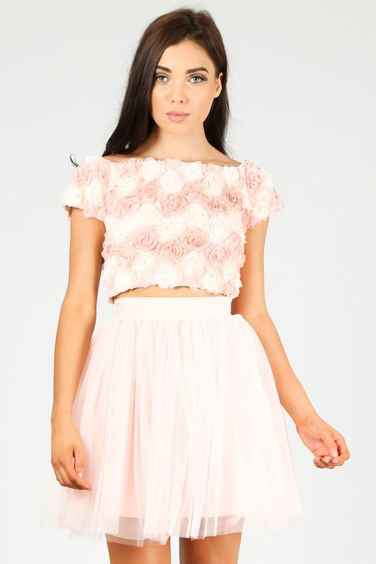 b50a14cb9d19b8 Chiffon Rose Applique Crop Top In Pink