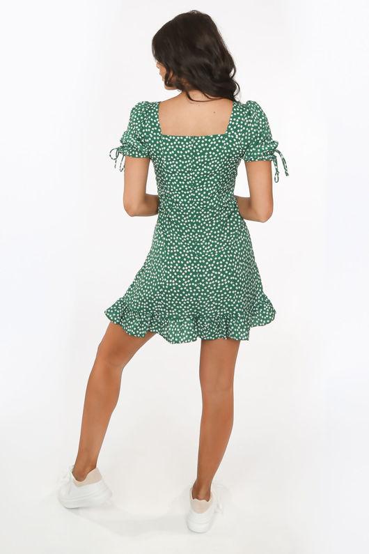 Jade Green Daisy Print Day Dress With Frill Hem