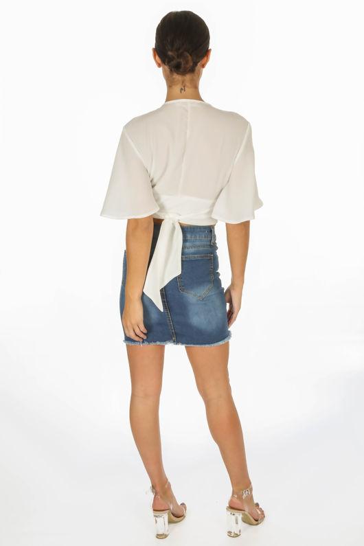 Dark Wash Distressed Denim Mini Skirt