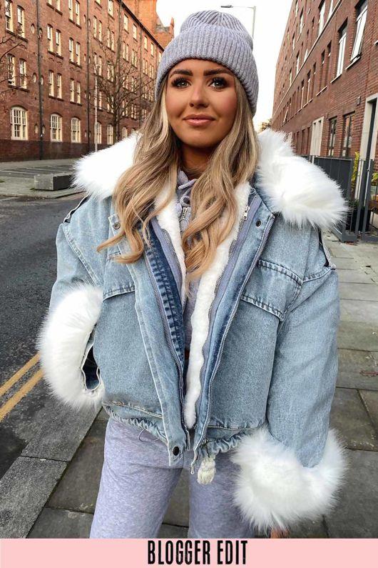 White Faux Fur Oversized Denim Jacket