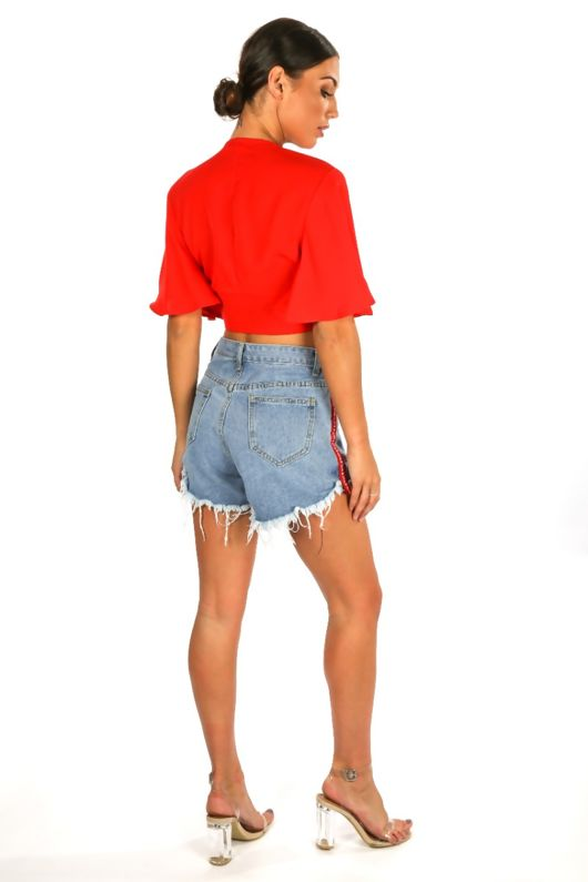 Side Stripe Mid Wash Denim Shorts