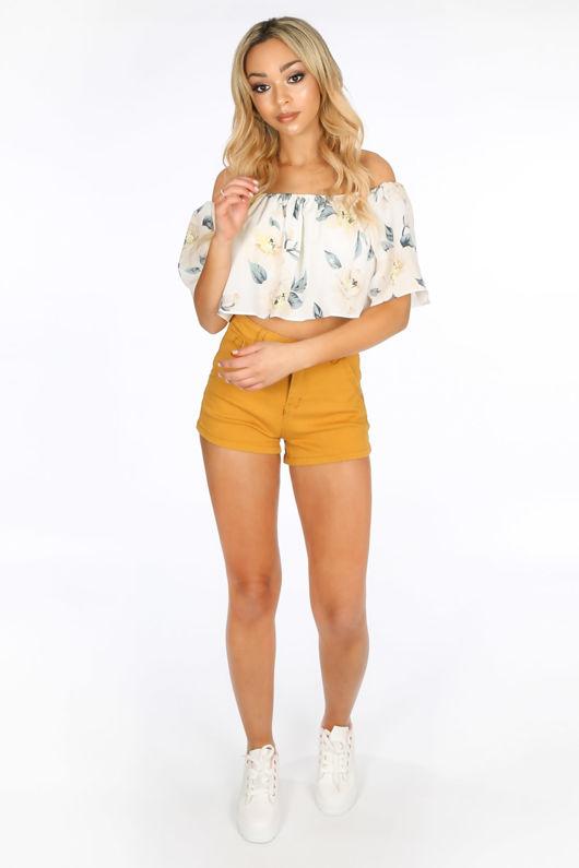 Mustard Denim Mini Shorts