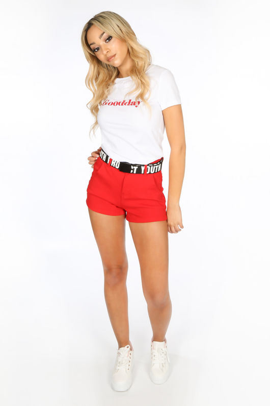 Red Denim Mini Shorts