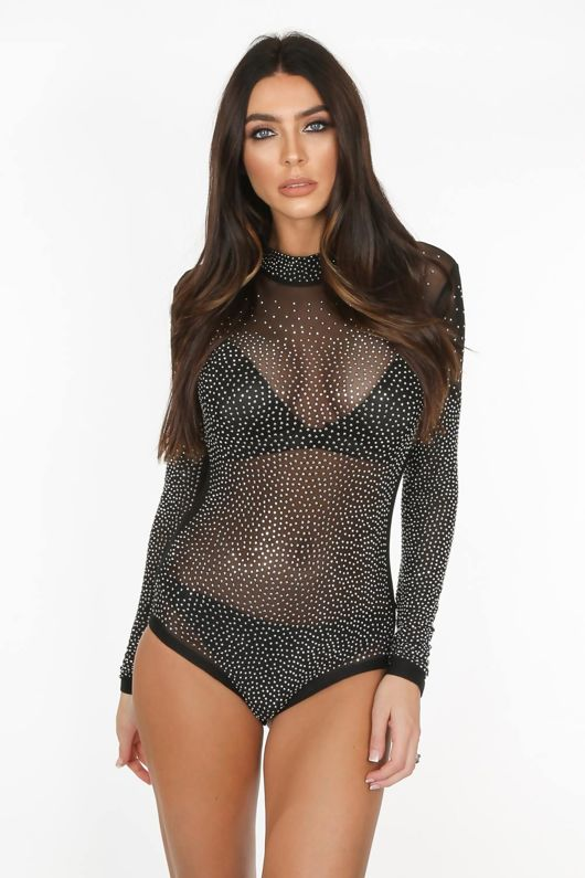 Black Sheer Diamante Bodysuit
