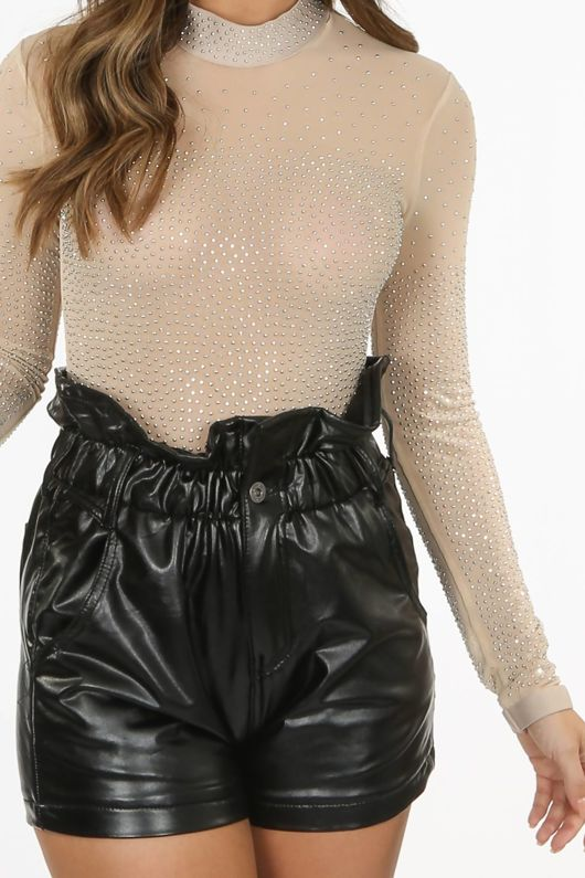 Nude Sheer Diamante Bodysuit