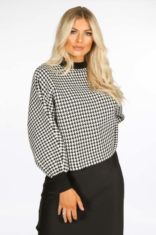 Monochrome Dogtooth Check Over-Sized Jumper