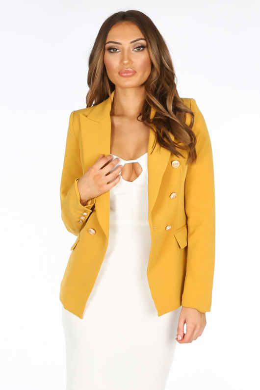 Double Breasted Tailored Blazer In Mustard