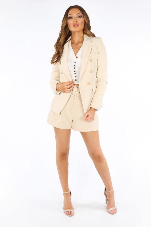 Double Breasted Tailored Blazer In Beige