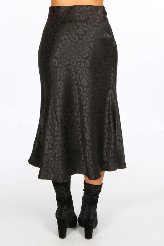 Black Embossed Satin Bias Midi Skirt