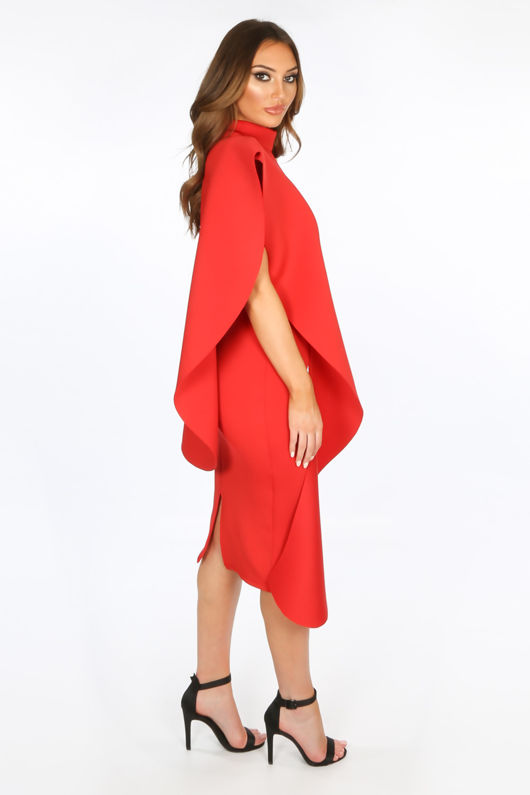 Exaggerated Frill Midi Dress in Red Neoprene