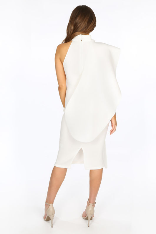 Exaggerated Frill Midi Dress in White Neoprene