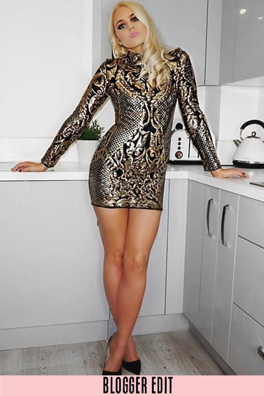 Luxe Long Sleeve Sequin Mini Dress Gold
