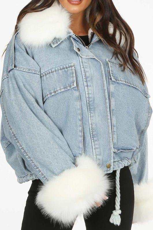 White Faux Fur Oversized Demin Jacket