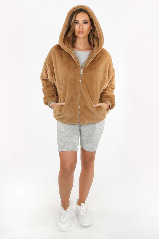 Luxe Faux Fur Zip Up Hoodie In Beige