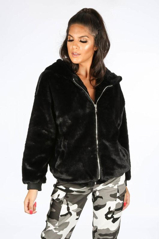 Luxe Faux Fur Zip Up Hoodie In Black