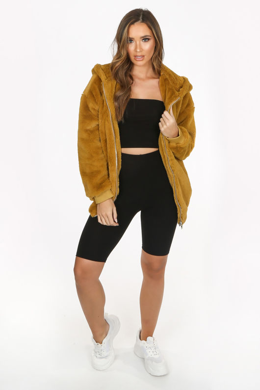 Luxe Faux Fur Zip Up Hoodie In Mustard