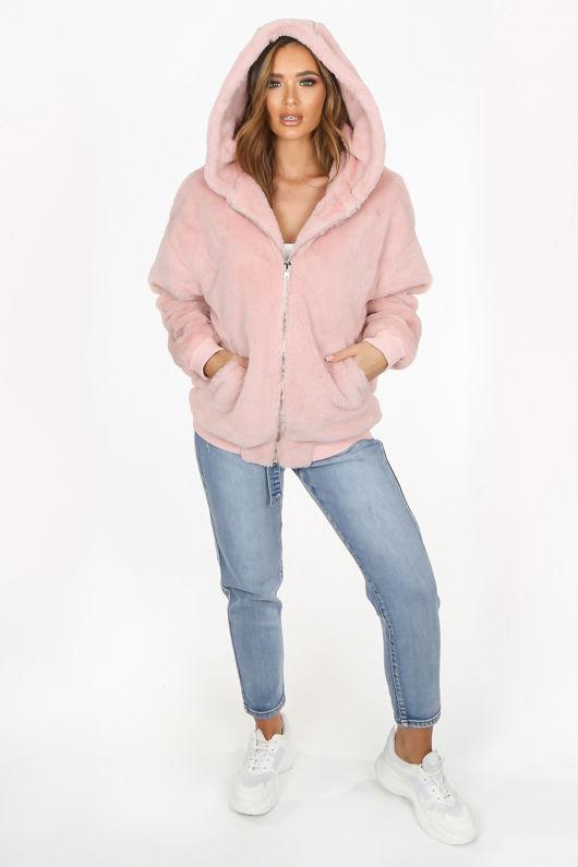Luxe Faux Fur Zip Up Hoodie In Pink