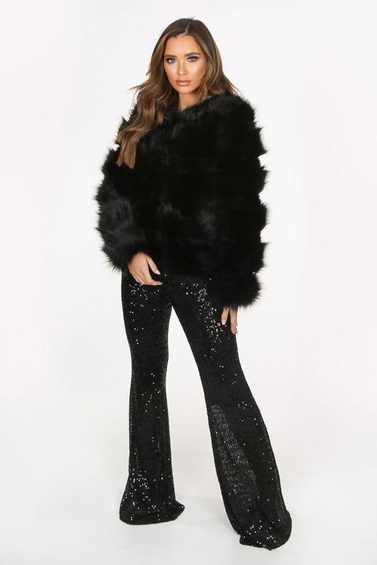 Black Super Soft Faux Fur Jacket