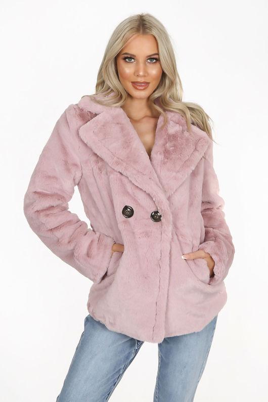 Pink Double Button Faux Fur Jacket