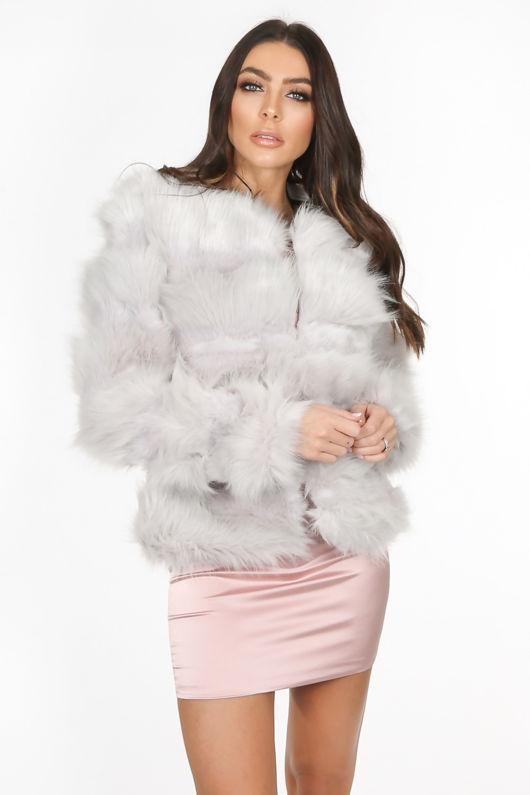 Light Grey Super Soft Faux Fur Jacket