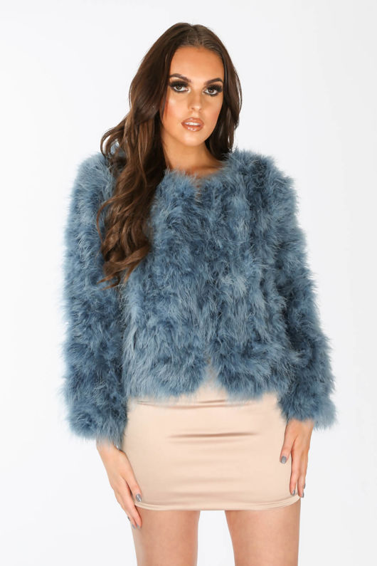 Ostrich Feather Jacket In Blue
