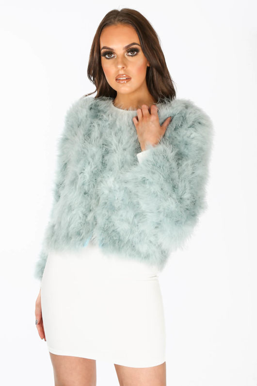 Ostrich Feather Jacket In Mint