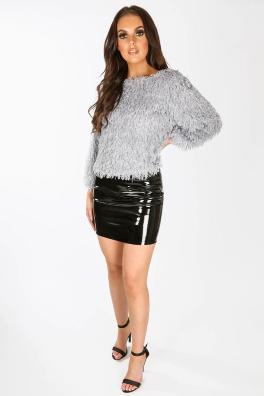 Feather Look Round Neck Top In Grey