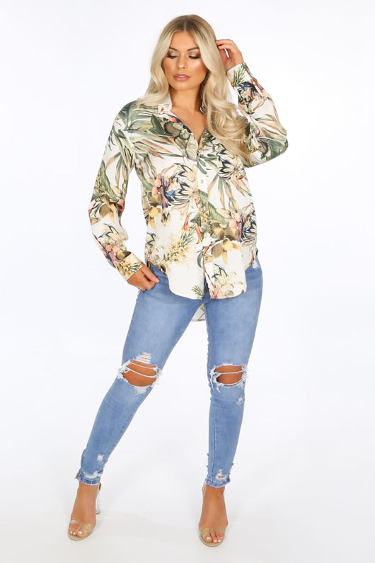 Cream Floral Oversized Blouse