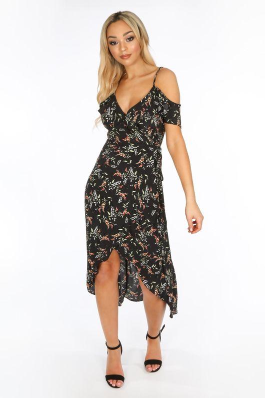 Cold Shoulder Midi Wrap Dress in Black Floral Print