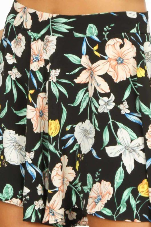 Black Flowy Floral Printed Shorts