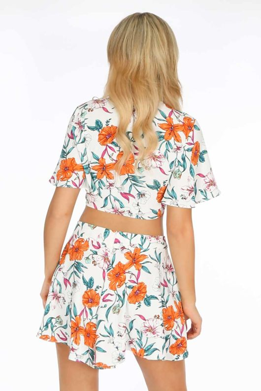 White Flowy Floral Printed Shorts