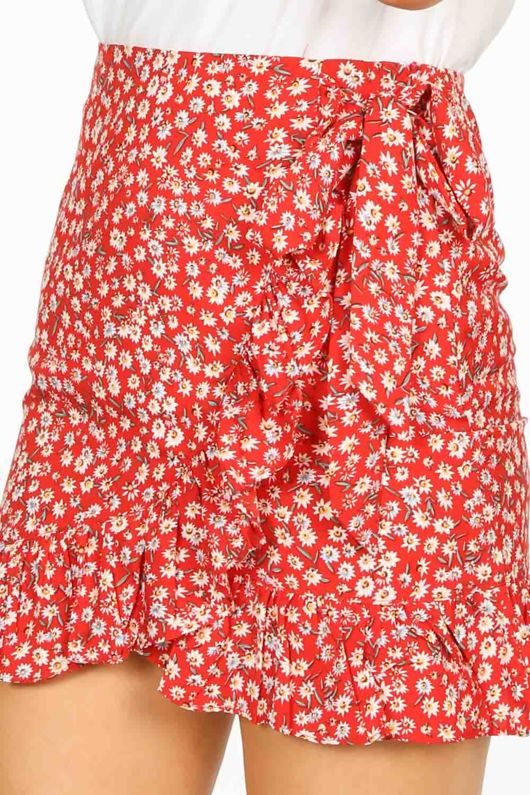 Red Floral Frill Mini Skirt