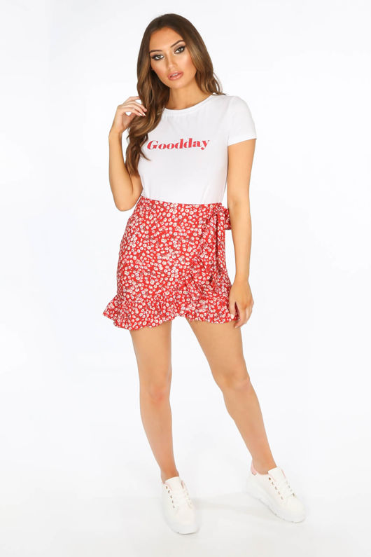 09e33e0c7 Red Floral Frill Mini Skirt