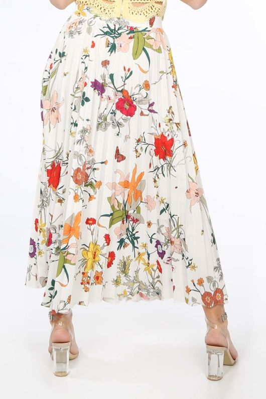 White Floral Pleated Midi Skirt