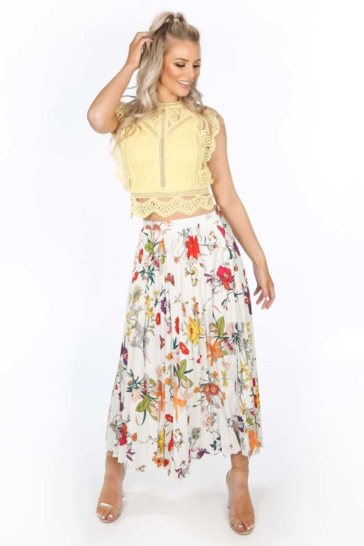 8d030db856 White Floral Pleated Midi Skirt