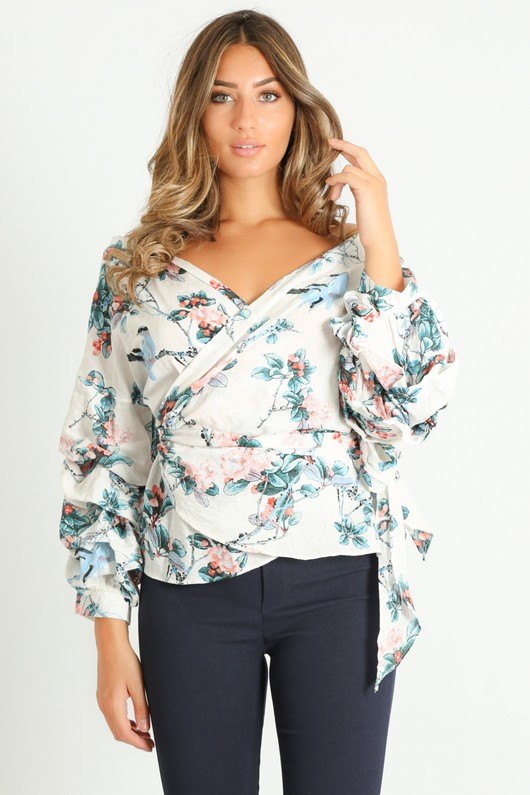 c/947/Floral_Print_Ruffle_Sleeve_Wrap_Over_Blouse_In_Cream__09287.jpg