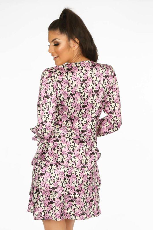 Lilac Floral Print Frill Wrap Look Dress
