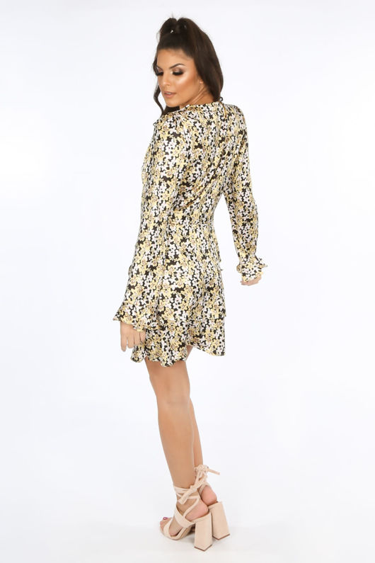 Yellow Floral Print Frill Wrap Look Dress