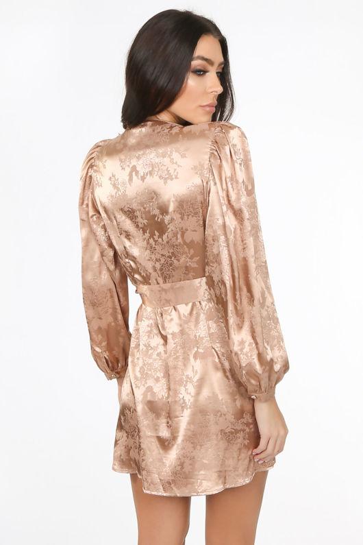Taupe Plunge Satin Wrap Dress