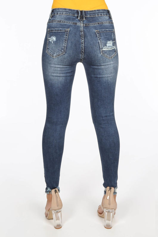 Ripped Knee Cropped Jeans With Distressed Hem Dark Wash