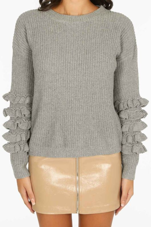 Layered Frill Sleeve Jumper In Grey