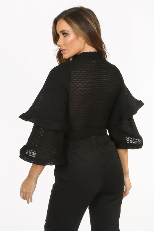Waffle Crop Top With Layered Bell Sleeve In Black
