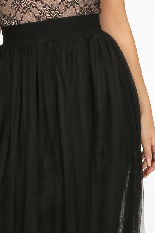Full Length Maxi Tulle Skirt In Black